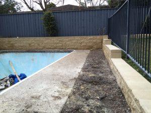 poolside retaining wall