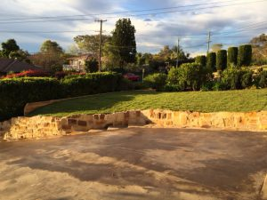 retaining wall and soft landscaping