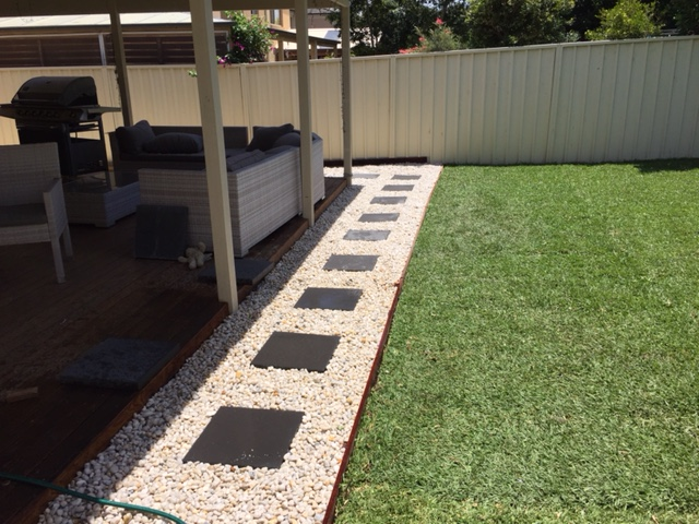 landscaping and stepping stone