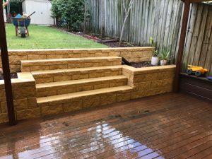 concrete backyard stairs & decking