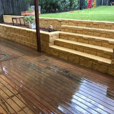 wooden backyard decking