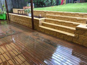 wooden backyard decking