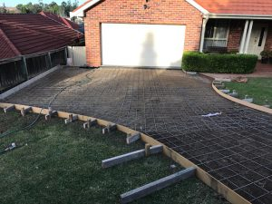 driveway reinforcing steel installation